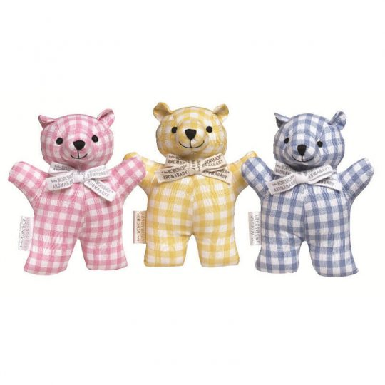 Pink, Yellow, & Blue organic cotton teddy bears