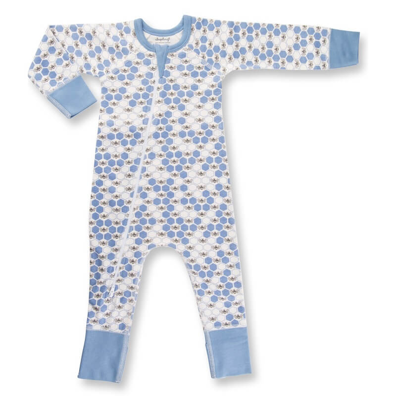Sapling Child Cornflower Blue Bees Zip Romper Organic Cotton