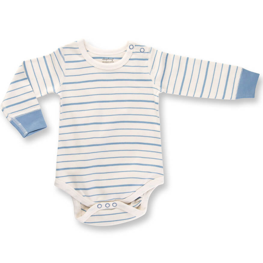 Blue French Stripe Long Sleeve Bodysuit organic cotton