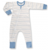 Blue French Stripe Zip Romper organic cotton