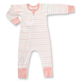 Peach French Stripe Zip Romper Organic Cotton