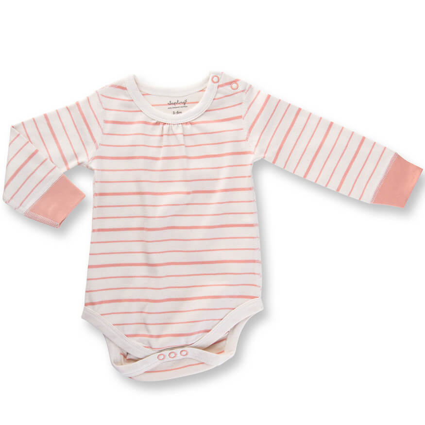 peach French stripe long sleeve bodysuit organic cotton