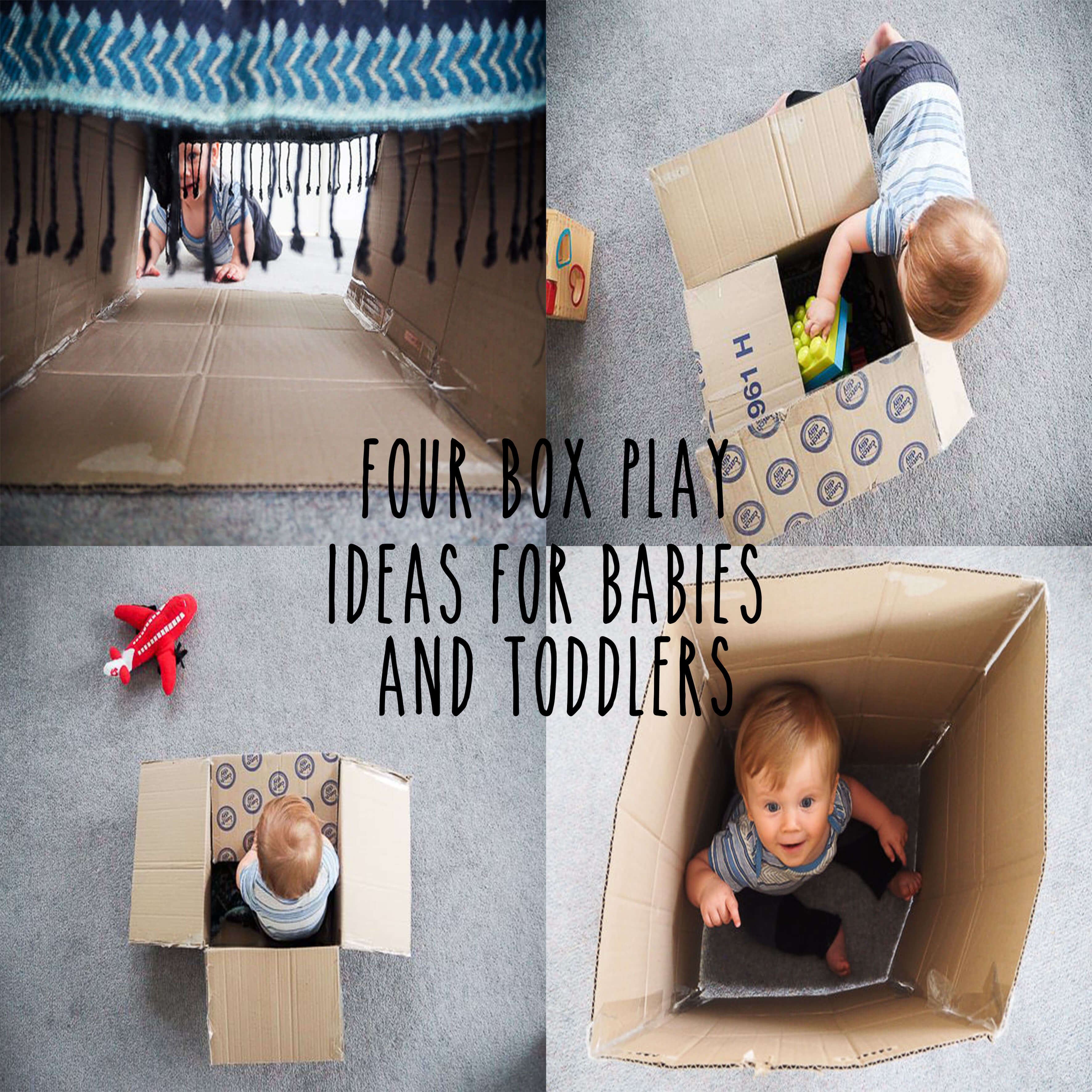 four images of different ways for babies and toddlers to play with box