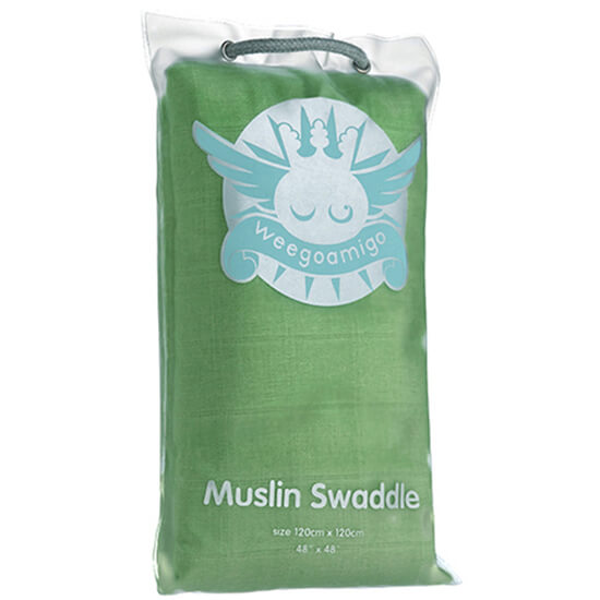 Green Weegoamigo Muslin Coloured Swaddle