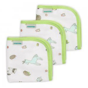 Green Muslin and Towelling Wash Cloth