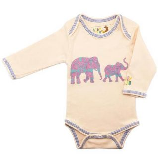 Elephant Onesie - Peach, Long-Sleeve