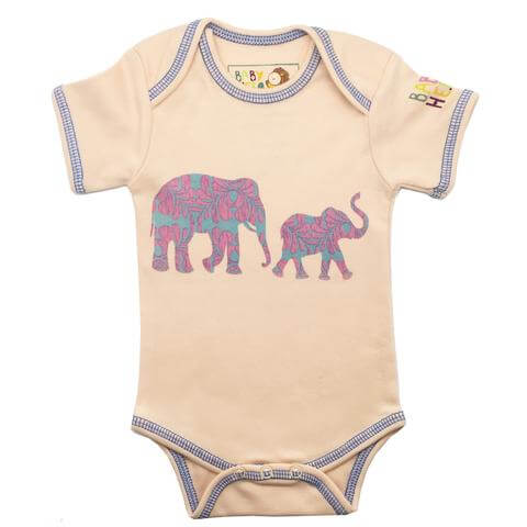 Elephant Onesie - Peach, Short-Sleeve
