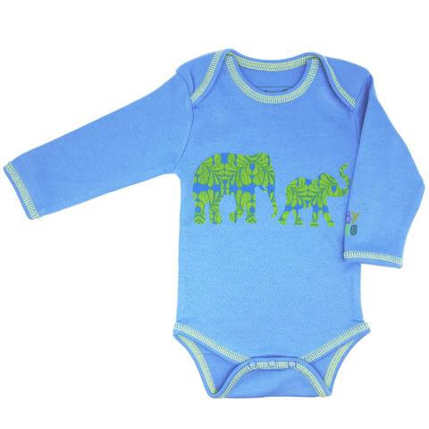 Elephant Onesie - Blue, Long-Sleeve