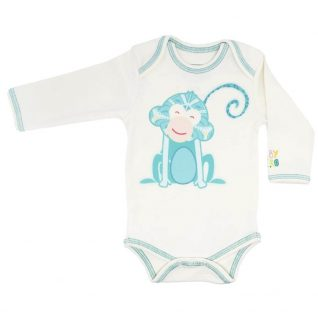 Monkey Onesie - Turquoise, Long-Sleeve