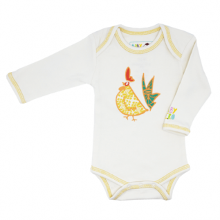 Rooster Onesie - Yellow, long-sleeve