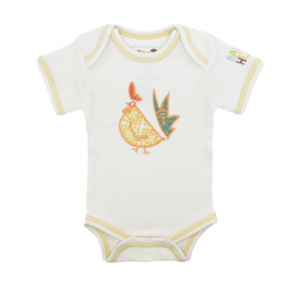 Year of the Rooster Onesie - yellow, short-sleeve