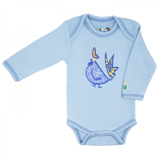 Blue year of the rooster long-sleeve onesie